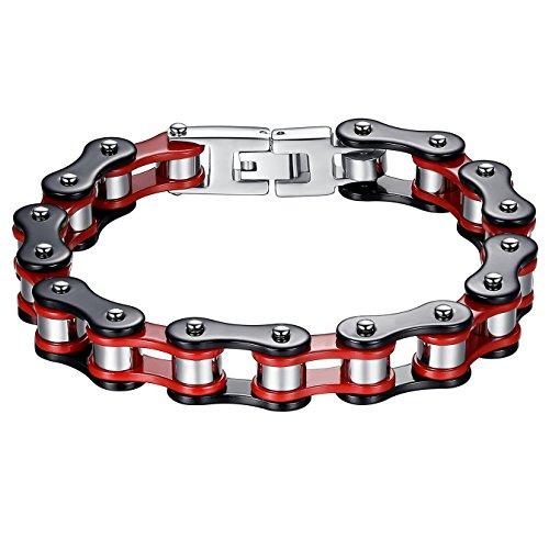 Aoiy Bracciale, Uomo, Acciaio Inossidabile, catena pesante bicicletta, nero e rosso, braccialetto motociclista, 21.8cm, ccb019