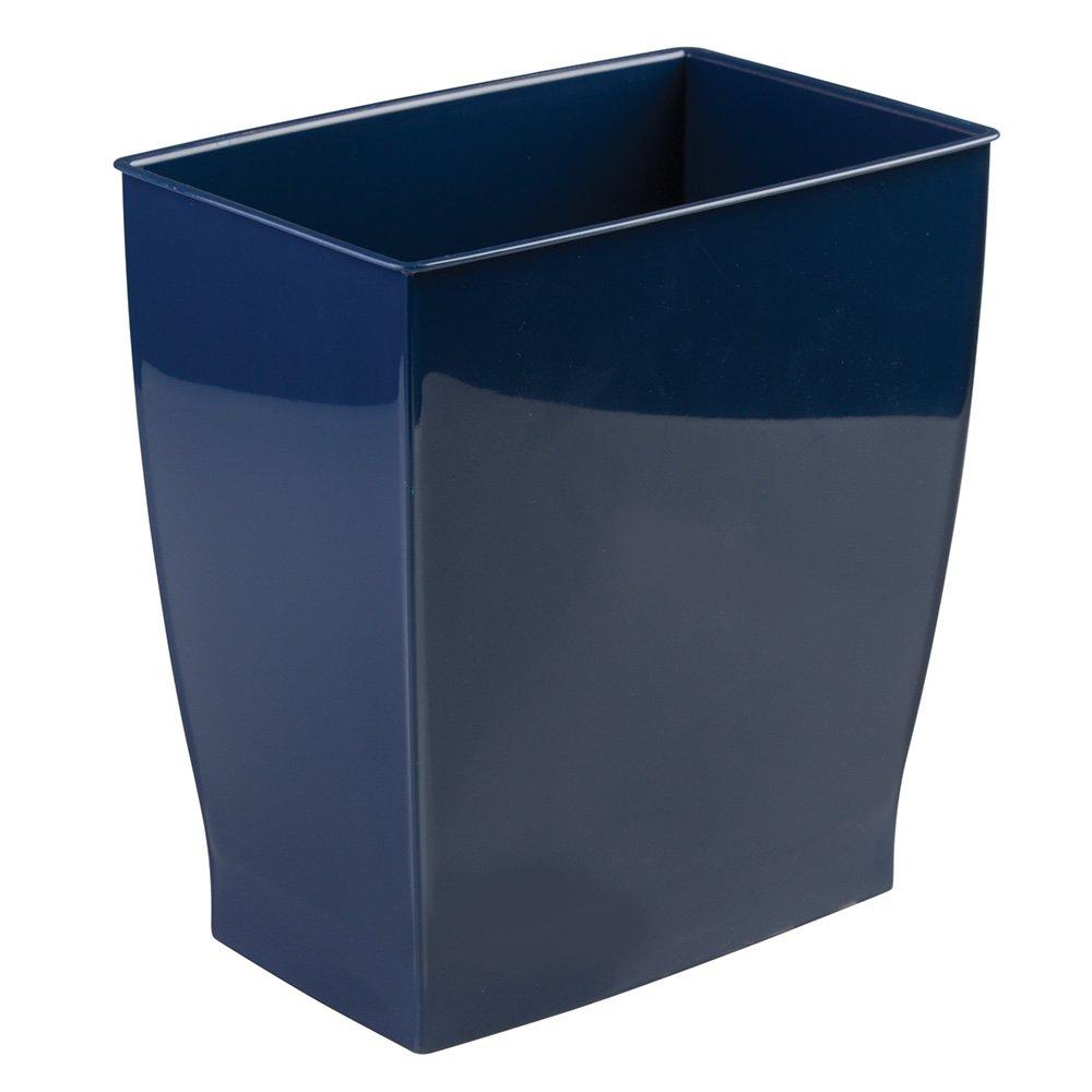 Mdesign wastebasket trash can rectangular navy ebay - Rectangular garbage cans ...