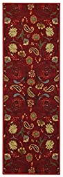 Custom Size Runner Red Multicolor Floral Garden Non-Slip (Non-Skid) Rubber Back Stair Hallway Rug by Feet 31 Inch Wide Select Your Length 31in X 10ft