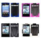Fincibo (TM) Combo 4: Hybrid With Stand Black + Black/ White + Black/ Pink + Black/ Blue Protector Cover Case for LG Optimus Logic L35g Dynamic L38c