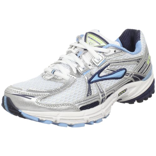 Brooks Women's Adrenaline Gts 11 Running Shoe,White/Obsidian/Silver/Black,9.5 B US