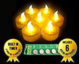 Valentines Day Gift,12-Battery-powered Yellow Flameless LED Frosted Flickering Tealight Candles With Timing Function(6 Hours on and 18 Hours Off)+ Extra Pack of 6 Batteries