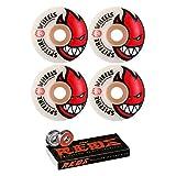 Spitfire 52mm Wheels Bighead Skateboard Wheels with Bones Bearings - 8mm Bones REDS Precision Skate Rated Skateboard Bearings - Bundle of 2 items (Color: White / Red)