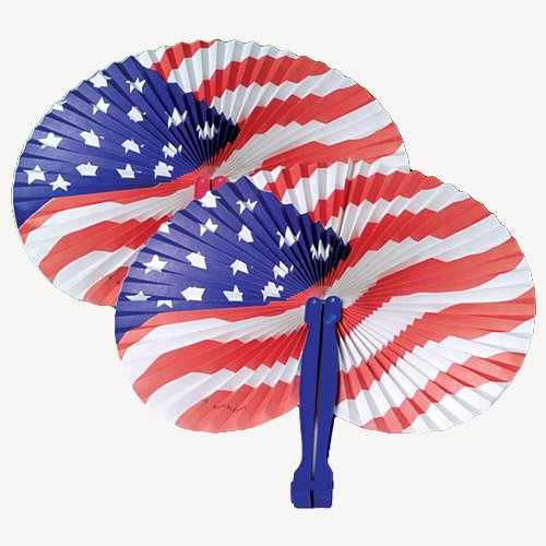 Lot Of 12 Traditional Japanese Patriotic American Flag Design Paper Folding Fans