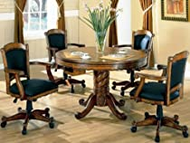 Hot Sale 3-in-1 Oak Finished Wood Poker, Pool, Game, Dining Table and 4 Chairs Set