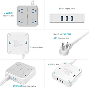 Power Strip with USB, TESSAN Mountable Flat Plug Extension Cord with 4 Widely Spaced Outlets, 3 USB Charger, 5 FT Cord, Travel Size and Lightweight Ideal for Cruise Ship, Home, Office, Gray