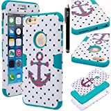iPhone 6s Plus / iPhone 6 Plus Case, iPhone 6s Plus / iPhone 6 Plus defender Case, E LV iPhone 6s Plus / iPhone 6 Plus Case Cover - Dual Layer Hybrid Armor Defender Protective Case Cover for Apple iPhone 6s Plus / iPhone 6 Plus (5.5 Inch) - POLKA DOT WHITE / TURQUOISE