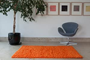 Ontario Bright Orange Anti Static Soft Touch Shag Pile Rug - Available in 3 Sizes by The Rug House