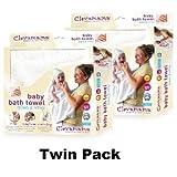 Clevamama Splash & Wrap Baby Bath Towel CREAM TWIN PACK