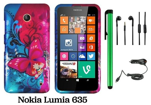 Nokia Lumia 635 (Us Carrier: T-Mobile, Metropcs, And At&T) Premium Pretty Design Protector Cover Case + Car Charger + 3.5Mm Stereo Earphones + 1 Of New Assorted Color Metal Stylus Touch Screen Pen (Pink Butterfly Bliss Blue Swirl)