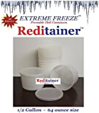 Extreme Freeze Reditainer 64 oz. Freezeable Deli Food Containers w/ Lids - Package of 8 - Food Storage