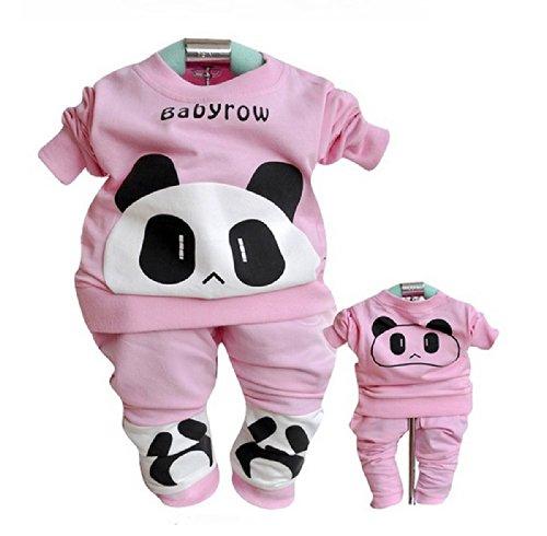 Sopo Cute Baby Girl Outfits 2 Pcs Sets (Bear Tshirt, Pants) Pink 24M front-1040408