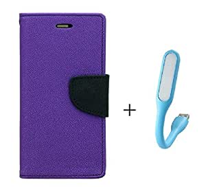 MicroMax Canvas 1+X Flip Cover With USB Light By Online Street (Purple Flip With Colurs May vary In USB Light)
