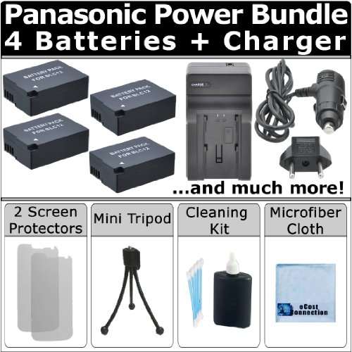 Complete Deluxe Starter Kit + 4 Dmw-Blc12 Batteries + Ac/Dc Turbo Charger With Travel Adapter For Panasonic Lumix Dmcg5 G5 Dmc-G5K Dmc-Gh2 Dmcgh2 G5K Gh2S Camera