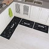 "Carvapet 3 Piece Non-Slip Kitchen Mat Rubber Backing Doormat Runner Rug Set, Cozinha Design (Black 15""x47""+15""x23"")"