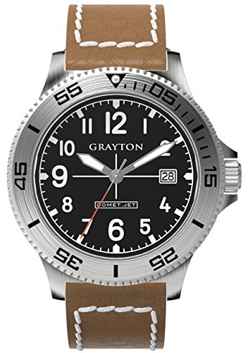 Grayton Comet.Jet Men's Quartz Watch with Black Dial Analogue Display and Brown Leather Strap GR-0014-003.5