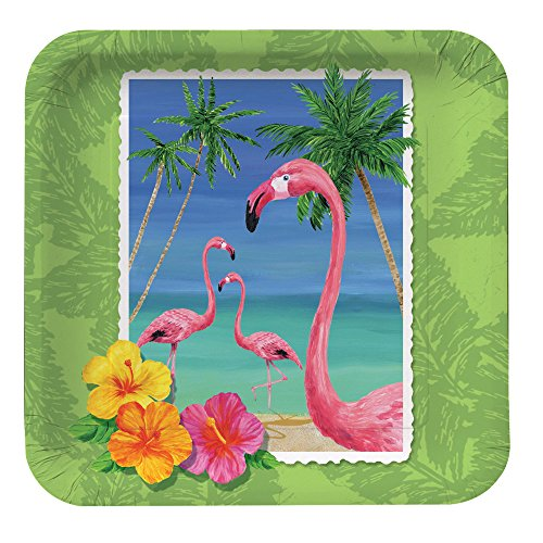 Creative Converting 8 Count Square Paper Dessert/Lunch Plates, Tropical Vacation