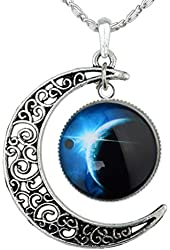 Yantu Dark Blue Women's Crescent Moon Galactic Universe Cabochon Pendant Necklace Christmas Gift
