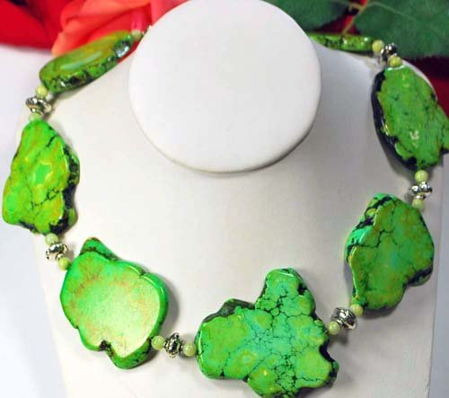 Large Green Turquoise Nugget Huge Silver Toggle Necklace 20