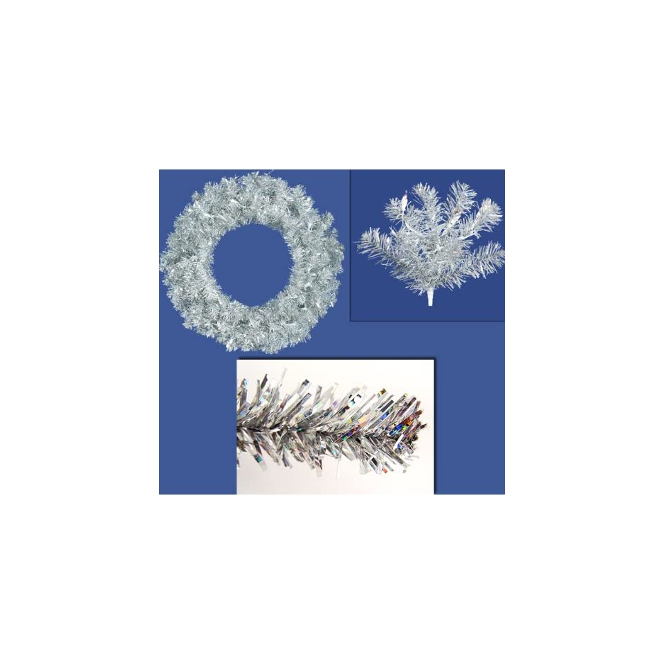 36 Pre Lit Sparkling Silver Tinsel Artificial Christmas Wreath   Clear Lights