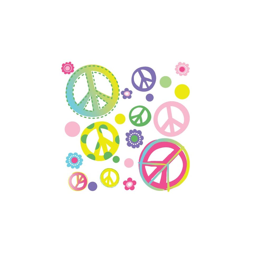 Peace Signs & Flowers Home/Dorm/Kids Room Wall Art Sticker Decals