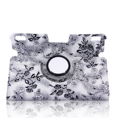 "Auto Sleep / Wake Feature Embossed Flower Pattern Smart Case Cover With 360 Degrees Rotating Stand For Kindle Fire Hdx 8.9""(Will Only Fit Kindle Fire Hdx 8.9"" Inch Tablet)--White And Black"