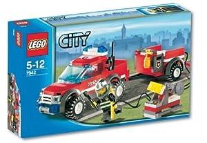 Lego - City - jeu de construction - Le 4*4 des pompiers et sa remorque