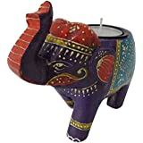 1pc Royal Blue Wooden Elephant Tea Light Candle Holder Wedding Party Home Decor Art