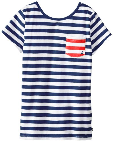 Nautica Big Girls' Stripe Pocket Tee With Keyhole, Med Navy, 8 front-1016926