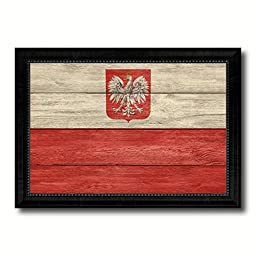 Poland National Country Flag Texture Canvas Print, Frame Patriotic Souvenir Gift Ideas office Home Décor Wall Art Livingroom Vintage Decoration Interior Design, 15''x21''