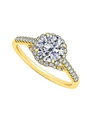 Cubic Zirconia Specially Designed Engagement Ring In Yellow Gold Plated Vermeil Attractive Design