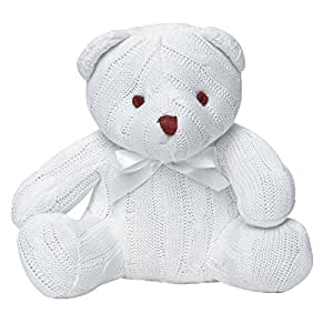 Elegant Baby 100% Cotton, Cable Knit Baby's First Teddy Bear with Bow in White (Discontinued by Manufacturer)