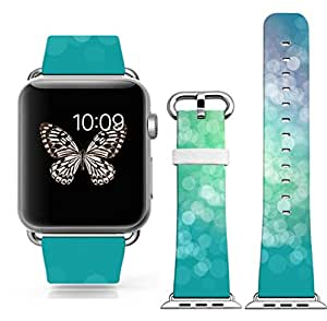 Iwatch Bands 38mm,38mm Genuine Leather Strap Wrist Band Replacement W Silver Metal Clasp for Apple Watch All Models 38mm - White Dots On The Green Leather Band