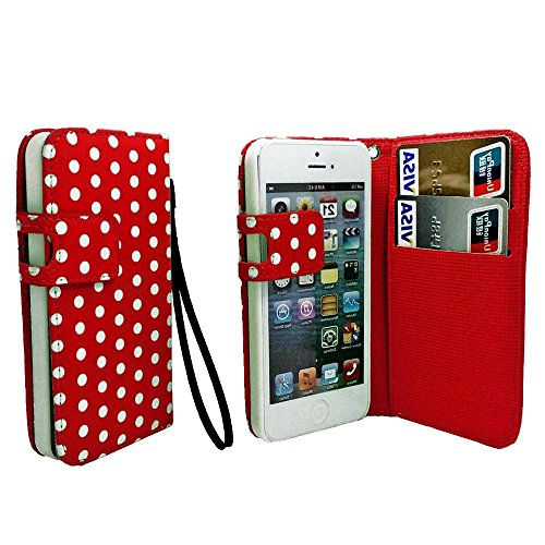 Mylife Crimson Red And White - Polka Dot Design - Textured Koskin Faux Leather (Card And Id Holder + Magnetic Detachable Closing) Slim Wallet For Iphone 5/5S (5G) 5Th Generation Itouch Smartphone By Apple (External Rugged Synthetic Leather With Magnetic C