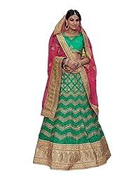 Gajiwala Women's Net Lehenga (Green)