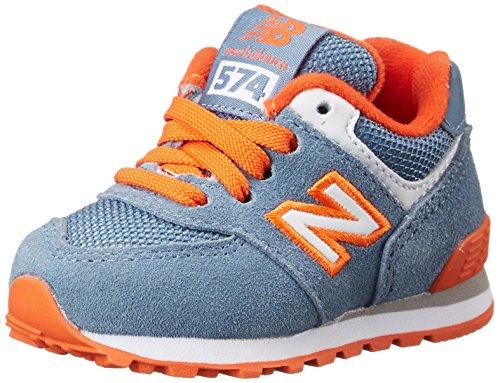 New Balance KL574 Core Running Shoe (Infant/Toddler), Blue/Orange, 2 M US Infant