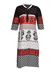 Global Women's Cotton Straight Kurta (GW42RedL015, Multi, L)