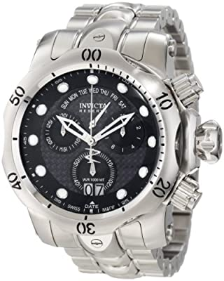 Invicta Men's 1540 Reserve Venom Chronograph Black Carbon Fiber Dial Stainless Steel Watch