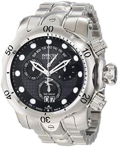 Invicta Men's 1540 Reserve Venom Chronograph Black Carbon Fiber Dial Stainless Steel Watch
