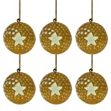 Glittery Golden Balls Party Tree Decoration Set of 6