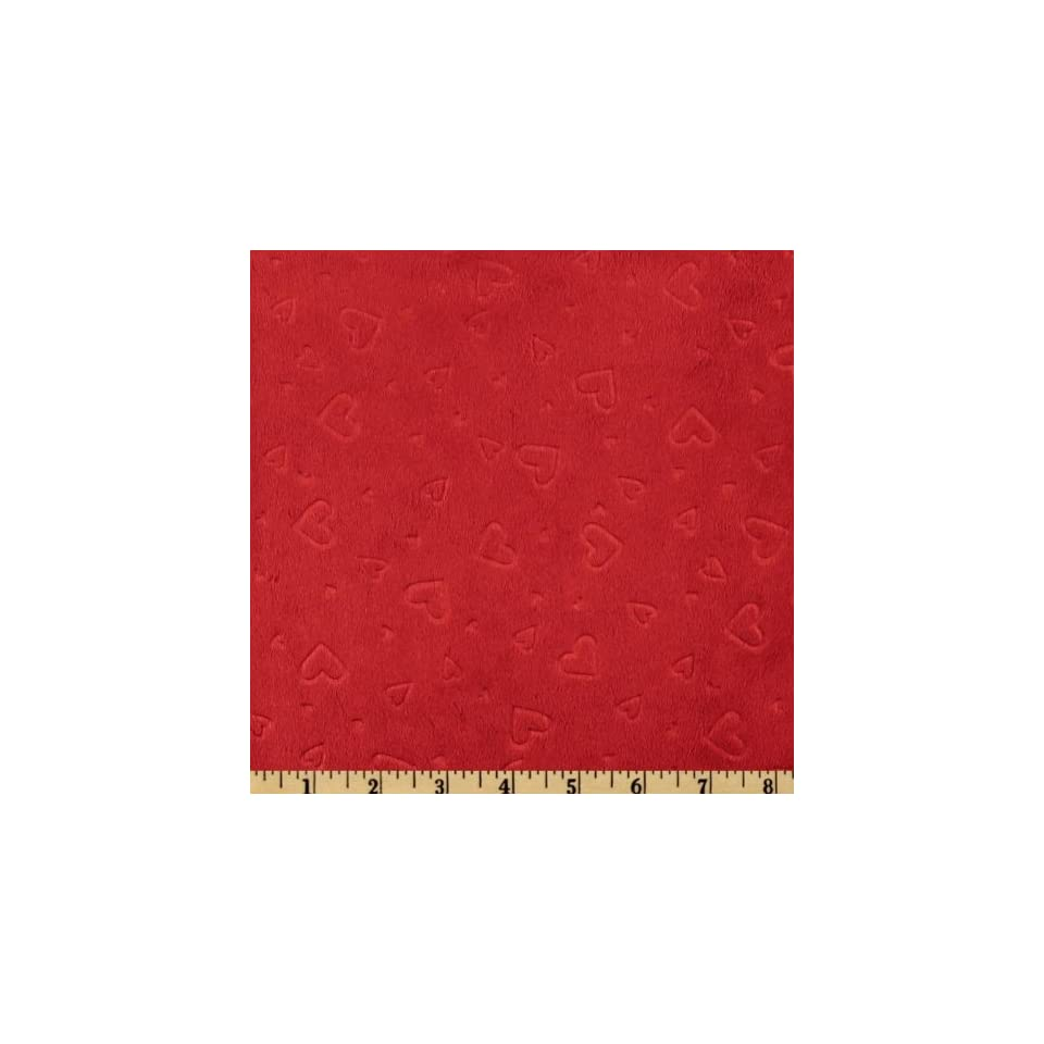 60 Wide Minky Embossed Heart Cuddle Red Fabric By The Yard