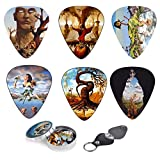 Surreal Art Guitar Picks| Set Of 12 Picks With Stunning Surreal Artwork By Jose Roosevelt| Complete W/ Tin Box, Leather Keychain Pick Holder| Ideal For Acoustic, Electric, Bass Guitar & DIY Projects