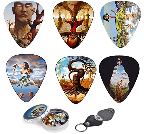 Unique Guitar Picks Set Of 12 Picks With Stunning Surreal Artwork Inspired By Salvador Dali, Complete W/ Tin Box, Leather Keychain Pick Holder| Best Guitar Player Gift - Limited Time Deal