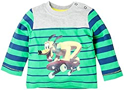 Infant Boys Full Sleeve T-Shirt With Stripe - Multi Colour (0-6 Months)