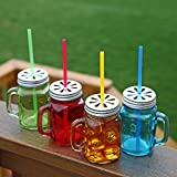 Assorted Colors Mason Jar Mugs with Tin Lid and Plastic Straws. 17.5 Oz. Each. Old Fashion Drinking Glasses - Pack of 4. By Lily's Home