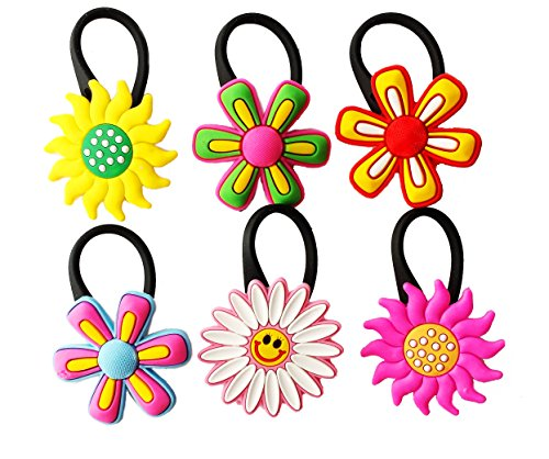 6 pcs Large Flowers # 3 Soft Zipper Pull Charms for Backpack Bag Pendant Jacket