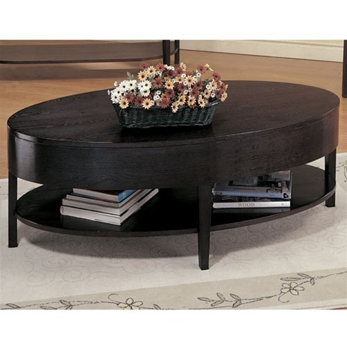 Modern Style Oval Cocktail Coffee Table With Bottom Storage Shelves In Rich Cappuccino Wood Finish. (Item# Vista Furniture CF3941)