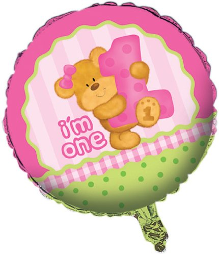 Creative Converting Bears First Birthday Two Sided Mylar Foil Round Balloon, Pink