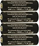 Moonrays 97143 AA NiMh Pre-Charged Rechargeable Batteries for Solar Lights 1500mAh, 4 Pack