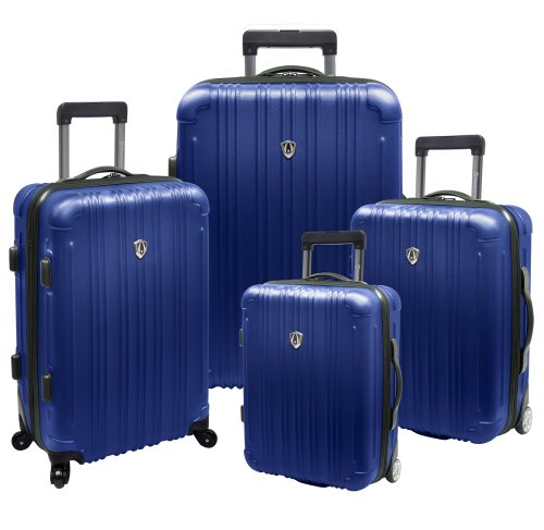Travelers Choice New Luxembourg 4 Piece Hard-Shell Luggage Collection, Navy, Large best offers